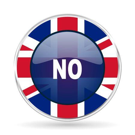 no british design icon - round silver metallic border button with Great Britain flag