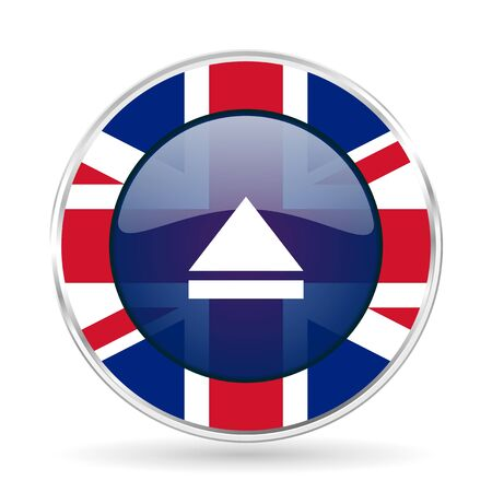 eject icon: eject british design icon - round silver metallic border button with Great Britain flag Stock Photo