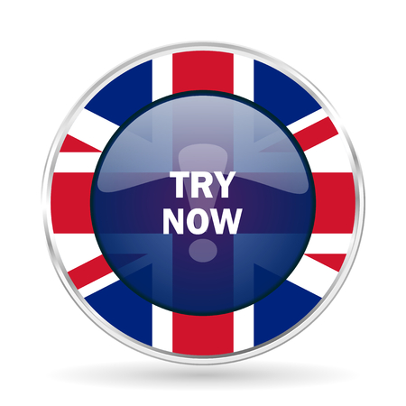 try now british design icon - round silver metallic border button with Great Britain flag Stock Photo