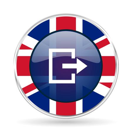 evacuacion: Exit british design icon - round silver metallic border button with Great Britain flag Foto de archivo