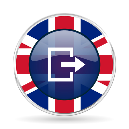 Exit british design icon - round silver metallic border button with Great Britain flag Stock Photo