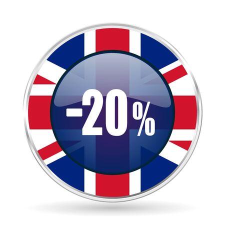 20 percent sale retail british design icon - round silver metallic border button with Great Britain flag