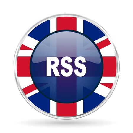 rss british design icon - round silver metallic border button with Great Britain flag Stock Photo