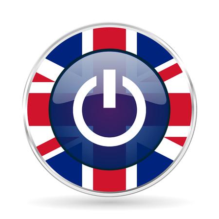 Power british design icon - round silver metallic border button with Great Britain flag