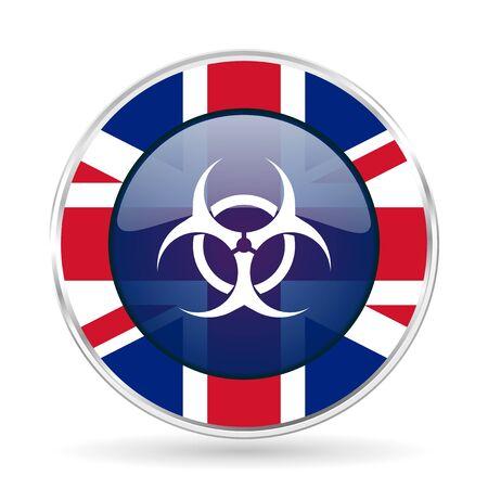 varez: biohazard british design icon - round silver metallic border button with Great Britain flag Stock Photo
