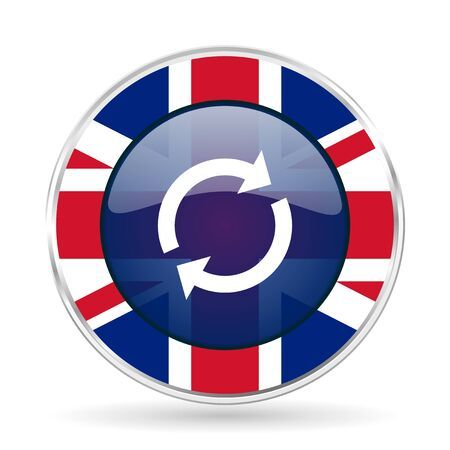reload british design icon - round silver metallic border button with Great Britain flag Stock Photo