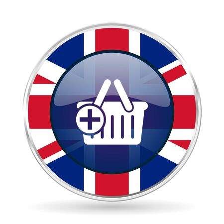 cart british design icon - round silver metallic border button with Great Britain flag