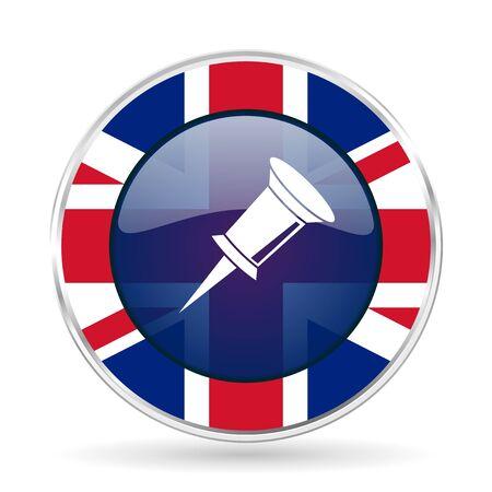 pin british design icon - round silver metallic border button with Great Britain flag Stock Photo