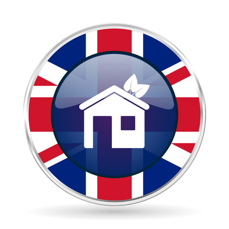 house british design icon - round silver metallic border button with Great Britain flag