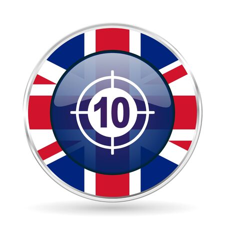 target british design icon - round silver metallic border button with Great Britain flag