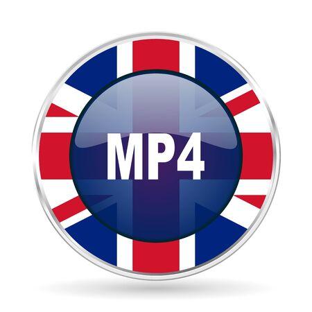 mp4 british design icon - round silver metallic border button with Great Britain flag