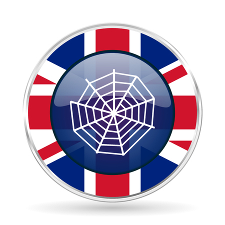 spider web british design icon - round silver metallic border button with Great Britain flag