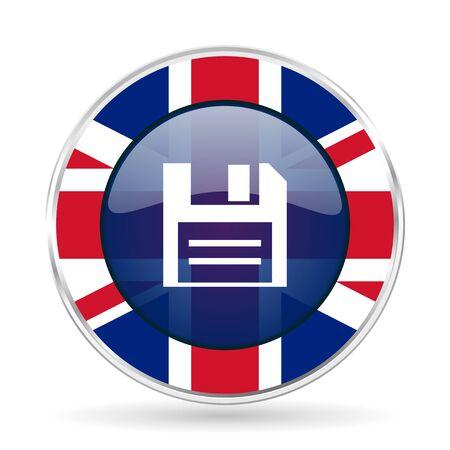 Disk british design icon - round silver metallic border button with Great Britain flag