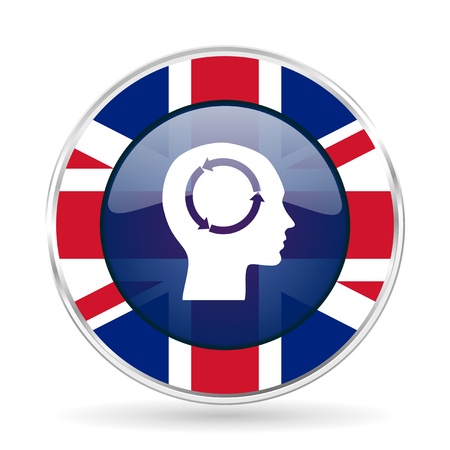 head british design icon - round silver metallic border button with Great Britain flag