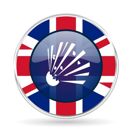 bomb british design icon - round silver metallic border button with Great Britain flag