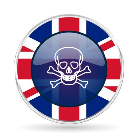 great danger: skull british design icon - round silver metallic border button with Great Britain flag