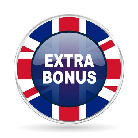 discounting: extra bonus british design icon - round silver metallic border button with Great Britain flag Stock Photo