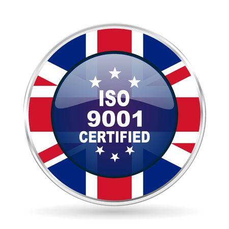 iso 9001 british design icon - round silver metallic border button with Great Britain flag Stock Photo