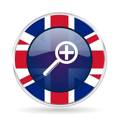 lens british design icon - round silver metallic border button with Great Britain flag