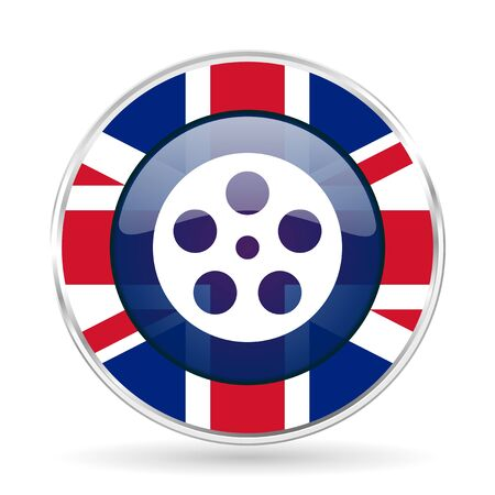 film british design icon - round silver metallic border button with Great Britain flag