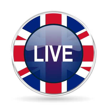 livestream: live british design icon - round silver metallic border button with Great Britain flag Stock Photo