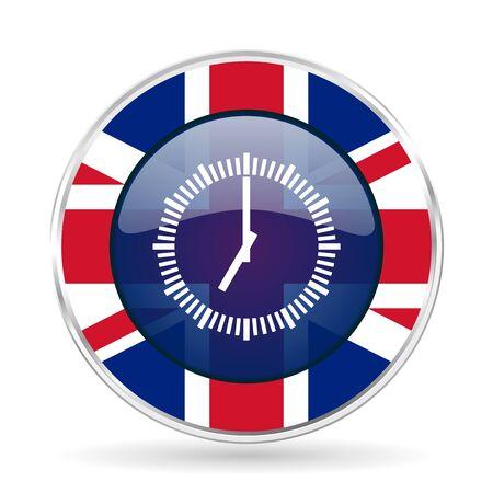 cronometro: Time british design icon - round silver metallic border button with Great Britain flag