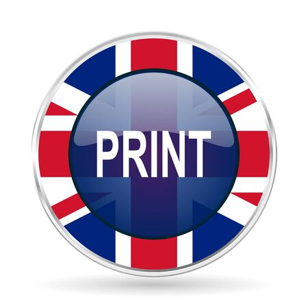 print british design icon - round silver metallic border button with Great Britain flag