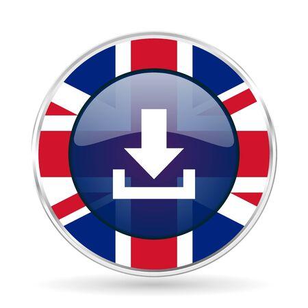 download british design icon - round silver metallic border button with Great Britain flag