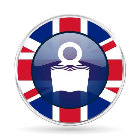 book british design icon - round silver metallic border button with Great Britain flag