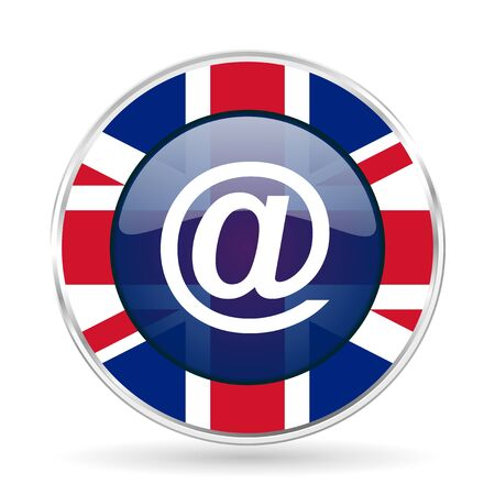 email british design icon - round silver metallic border button with Great Britain flag