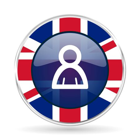 Person british design icon - round silver metallic border button with Great Britain flag Stock Photo