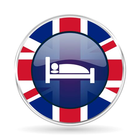 touristy: hotel british design icon - round silver metallic border button with Great Britain flag Stock Photo