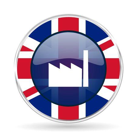 factory british design icon - round silver metallic border button with Great Britain flag