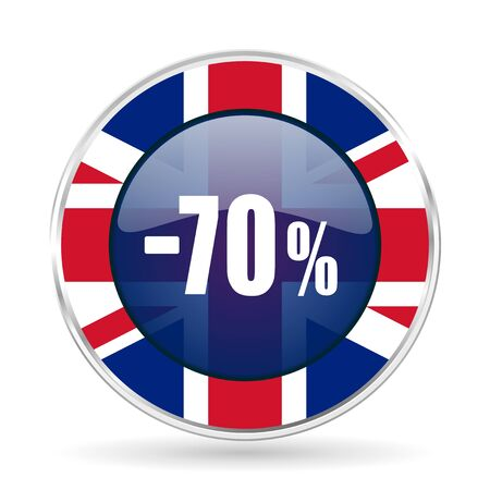 70 percent sale retail british design icon - round silver metallic border button with Great Britain flag