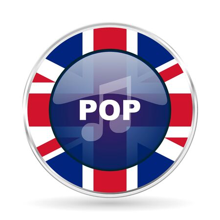 pop music british design icon - round silver metallic border button with Great Britain flag Stock Photo