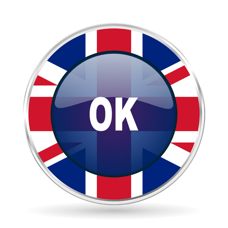 ok british design icon - round silver metallic border button with Great Britain flag