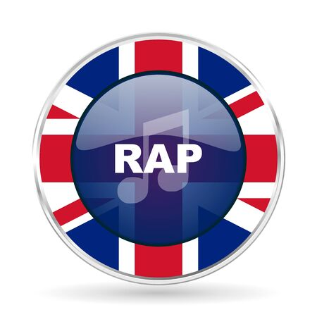 rap music british design icon - round silver metallic border button with Great Britain flag Stock Photo