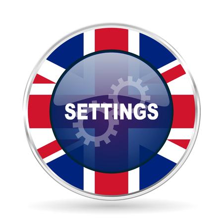 settings british design icon - round silver metallic border button with Great Britain flag Stock Photo