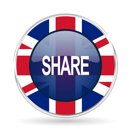 share british design icon - round silver metallic border button with Great Britain flag