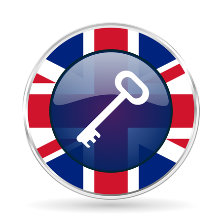 key british design icon - round silver metallic border button with Great Britain flag