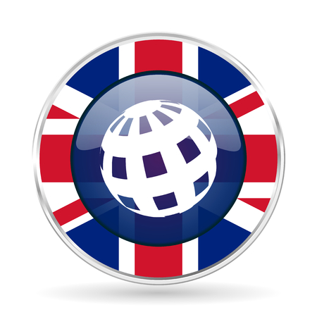 earth british design icon - round silver metallic border button with Great Britain flag