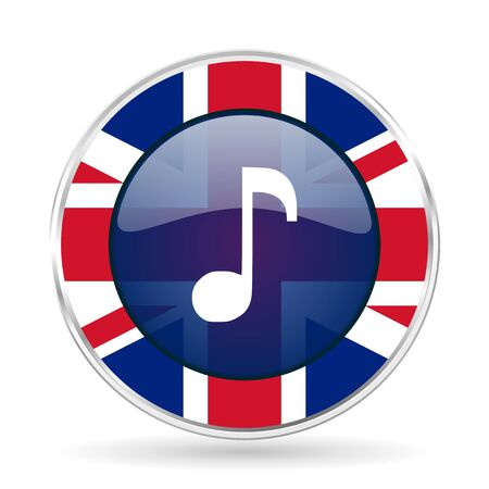 music british design icon - round silver metallic border button with Great Britain flag