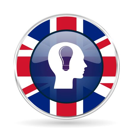 educacion ambiental: head british design icon - round silver metallic border button with Great Britain flag