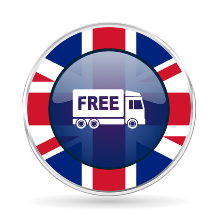 délivrance: free delivery british design icon - round silver metallic border button with Great Britain flag