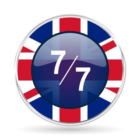 7 per 7 british design icon - round silver metallic border button with Great Britain flag Stock Photo