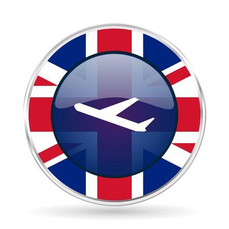 Deparures british design icon - round silver metallic border button with Great Britain flag