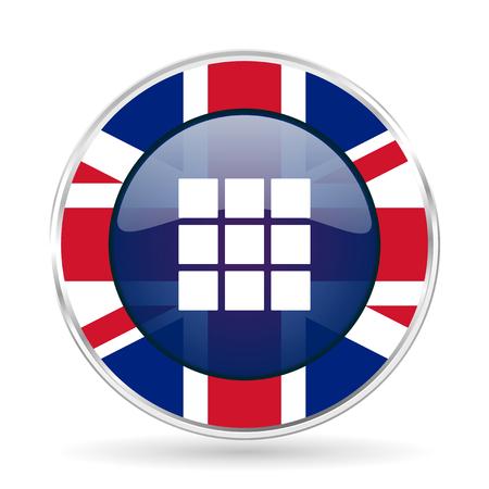 thumbnails: thumbnails grid british design icon - round silver metallic border button with Great Britain flag