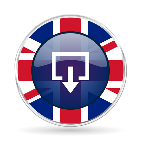 Exit british design icon - round silver metallic border button with Great Britain flag Stock Photo