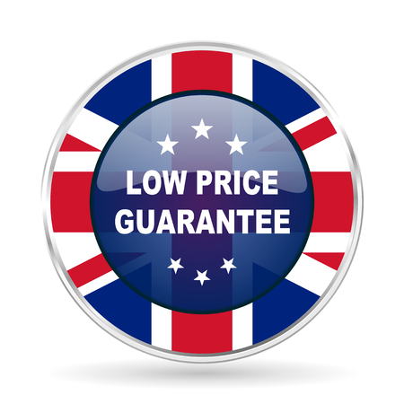 low price: low price guarantee british design icon - round silver metallic border button with Great Britain flag