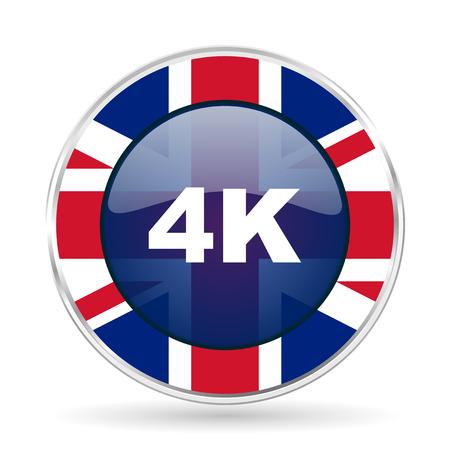 4k british design icon - round silver metallic border button with Great Britain flag